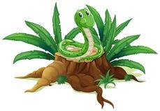 Un tronco con una serpiente verde ilustración del vector