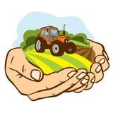 Un trozo de tierra con un tractor en las palmas stock de ilustración