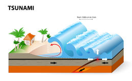 Un tsunami è una serie di onde enormi illustrazione di stock