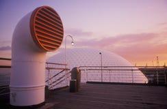 Un tubo del respiradero del barco de cruceros de Queen Mary, Long Beach, California Fotografía de archivo libre de regalías