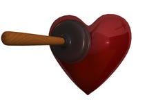 Un tuffatore e un cuore Fotografia Stock Libera da Diritti