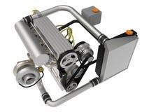 Un turbo moteur à quatre cylindres et performant pour une voiture de sport rendu 3d illustration libre de droits