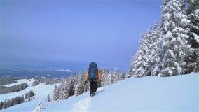Un turista camina a trav?s de la nieve en las monta?as almacen de metraje de vídeo
