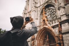 Un turista in città Fotografie Stock Libere da Diritti