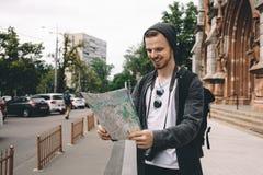 Un turista in città Fotografia Stock