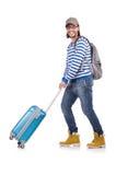 Un turista con le borse isolate su bianco Fotografia Stock Libera da Diritti
