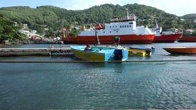 Un turista en un agua-taxi en el embarcadero del bote en Bequia almacen de metraje de vídeo