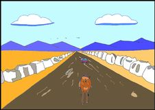 Un turista sulla strada royalty illustrazione gratis