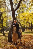 Un type émotif, tours un beau cheval avec un regard effrayé En parc d'automne photographie stock
