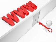 Un type 3D mignon atteint le WWW Photographie stock libre de droits