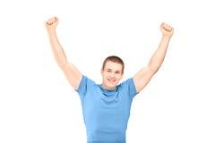 Un type beau faisant des gestes le bonheur Images stock