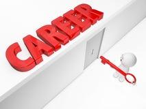 Un type 3D mignon atteint une carrière (séries 3D d'isolement par happyman) Images stock