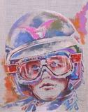 Un type dans un casque et des lunettes de moto illustration de vecteur