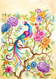 Un uccello di felicità in un giardino leggiadramente Fotografia Stock