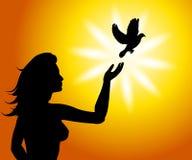 Un uccello nel libero stabilito della mano Fotografia Stock Libera da Diritti