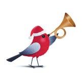 Un uccello rosso che soffia una tromba Fotografie Stock Libere da Diritti