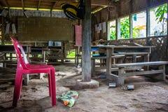 Un'una scuola primitiva della stanza in un villaggio del png fotografia stock libera da diritti