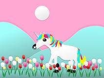 Un unicornio con el estilo cortado de papel de las flores del tulipán libre illustration