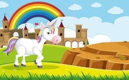 Un unicornio delante del castillo ilustración del vector