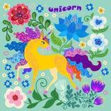 Un unicornio hermoso Doodle el estilo libre illustration
