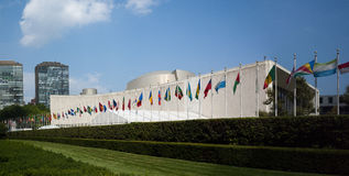 UN United Nations general assemby viewed from first avenue Royalty Free Stock Photo
