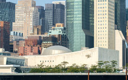 UN United Nations headquarters general assembly as seen from Roo Royalty Free Stock Images
