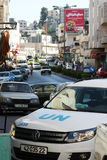 UN (United Nations) Peace Keeping Vehicle on Manger Street, Bethlehem Royalty Free Stock Photo