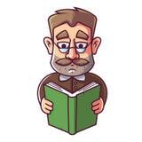 Un uomo adulto con i vetri ed i baffi sta leggendo un libro illustrazione vettoriale