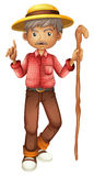 Un uomo anziano che tiene un bastone Immagini Stock