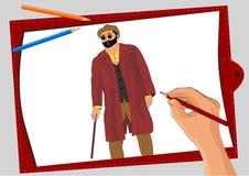 Un uomo anziano cieco attraversa la via royalty illustrazione gratis