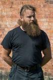 Un uomo barbuto con le sue mani dietro il suo indietro fotografie stock