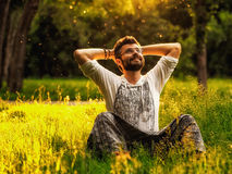 Un uomo barbuto sorride felicemente sedendosi sull'erba verde nel parco Immagine Stock