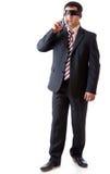 Un uomo blindfold con il nastro nero coperto Fotografia Stock