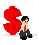 Un uomo in camicia che esamina preoccupata con il segno dei soldi Fotografia Stock Libera da Diritti