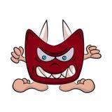 Un uomo che indossa una maschera del diavolo Illustrazione piana di vettore immagini stock