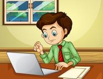 Un uomo che per mezzo del computer portatile dentro la casa illustrazione di stock