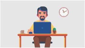 Un uomo che si siede ad un computer e che tiene un topo del computer Royalty Illustrazione gratis