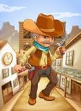 Un uomo che tiene una pistola con un cappello fuori del salone Immagine Stock Libera da Diritti