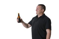 Un uomo con birra Fotografia Stock Libera da Diritti