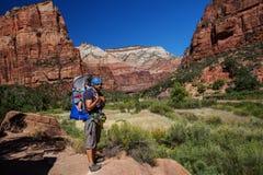 Un uomo con il suo neonato è trekking nel parco nazionale di Zion, Utah fotografie stock libere da diritti
