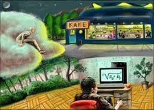 Un uomo con il taccuino, un uomo su una nuvola e un caffè illustrazione di stock