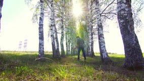 Un uomo con un metal detector cammina attraverso la foresta, ` s soleggiato video d archivio