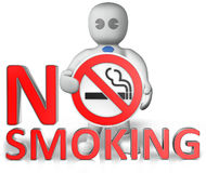 Un uomo con un avvertimento non fumatori Immagini Stock