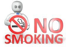 Un uomo con un avvertimento non fumatori Fotografia Stock