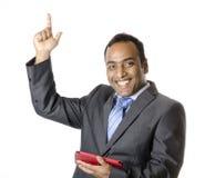 Un uomo d'affari è molto happyand che solleva le mani Fotografia Stock Libera da Diritti