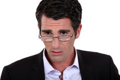 Un uomo d'affari ansioso. Fotografia Stock Libera da Diritti