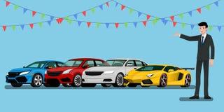 Un uomo d'affari felice, rappresentante è diritto e presenta i suoi veicoli ed automobile eccellente per vendita o affitta quello Fotografie Stock Libere da Diritti