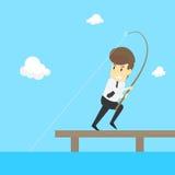 Un uomo d'affari Fishing Vettore Fotografia Stock
