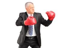 Un uomo d'affari maturo con i guantoni da pugile rossi pronti a combattere Fotografia Stock