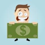 Uomo del fumetto con la grande banconota Fotografia Stock Libera da Diritti